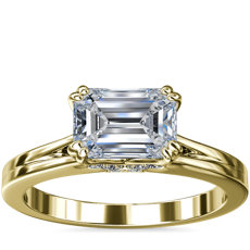 East-West Emerald Cut Solitaire Plus Diamond Engagement Ring in 14k Yellow Gold