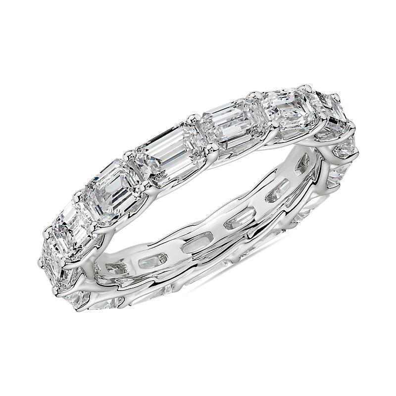 East-West Emerald Cut Diamond Crisscross Profile Eternity Ring in