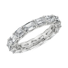 East-West Emerald Cut Diamond Crisscross Profile Eternity Ring in 14k White Gold (3 3/4 cttw)