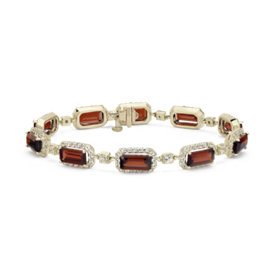 NEW Robert Leser East-West Garnet Bracelet in 14k Yellow Gold (9x4.5mm)