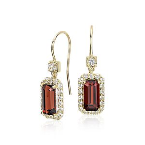 Robert Leser East-West Garnet Halo Drop Earrings in 14k Yellow Gold (9x4.5mm)