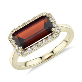 Robert Leser East-West Garnet Halo Ring in 14k Yellow Gold (11x5.5mm)