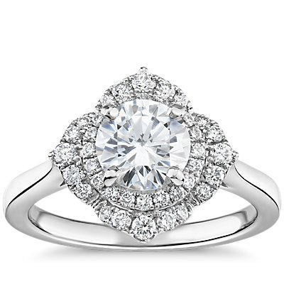 Floral Halo Diamond Engagement Ring in 14k White Gold (1/4 ct. tw.)