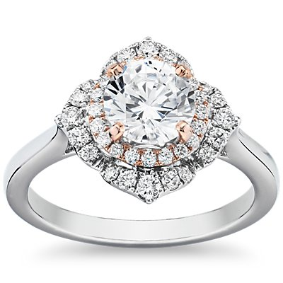 East West Halo with Two-Tone Accent and Plain Shank in 14k White and Rose Gold