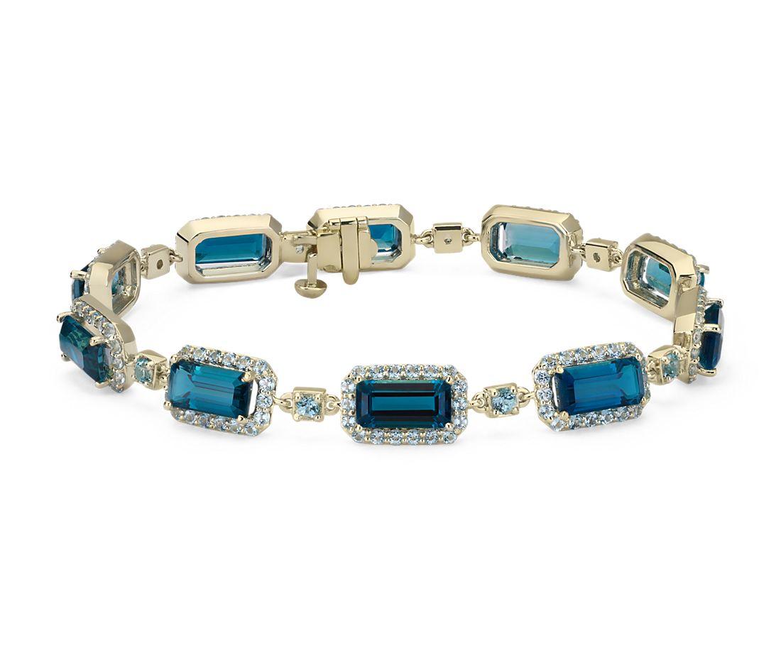 Robert Leser East West London Blue Topaz Bracelet In 14k Yellow Gold 9x4 5mm