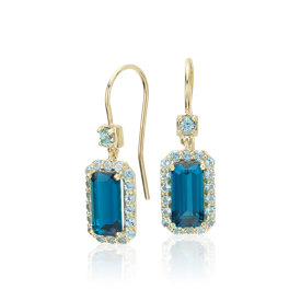 Pendants d'oreilles halo de topazes bleues de Londres Robert Leser East-West en or jaune 14 carats (9 x 4,5 mm)