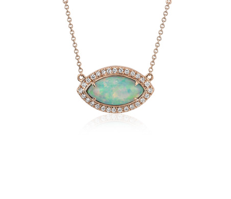 East-West Marquise Opal Necklace with Diamond Halo and Bezel Set Chain in 18k Rose Gold (15x7.5mm)