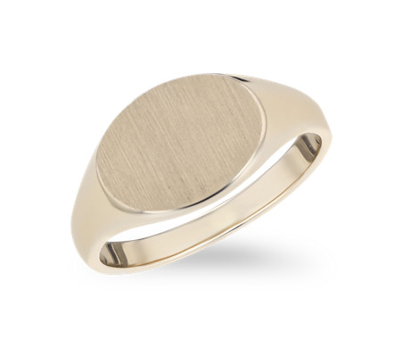 East-West Modern Brushed Signet Fashion Ring in 14k Yellow Gold