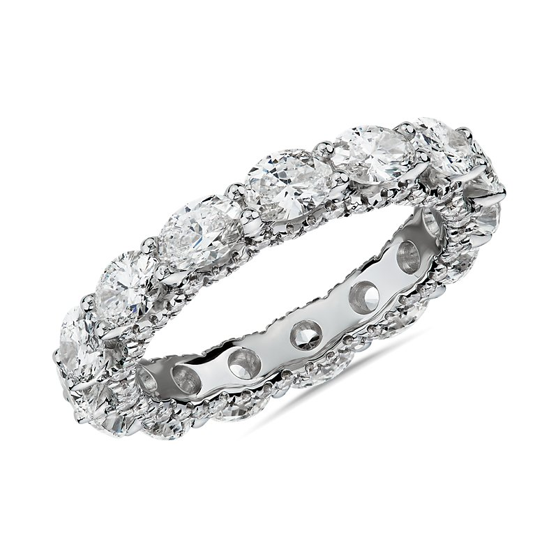 East-West Oval Diamond & Pavé Profile Eternity Ring in 14k