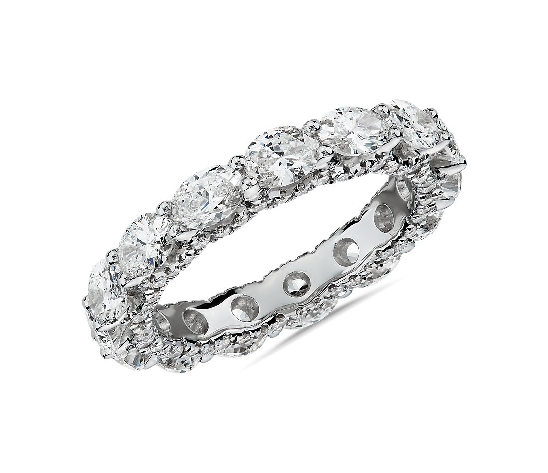East-West Oval Diamond & Pavé Profile Eternity Ring in 14k White Gold (3 1/2 ct. tw.)