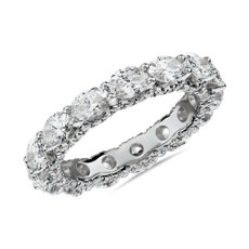 NEW East-West Oval Diamond & Pavé Profile Eternity Ring in 14k White Gold (3 1/2 ct. tw.)