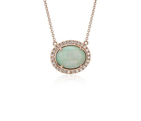 East-West Oval Opal Necklace with Diamond Halo and Bezel-Set Chain in 18k Rose Gold (13x10mm)