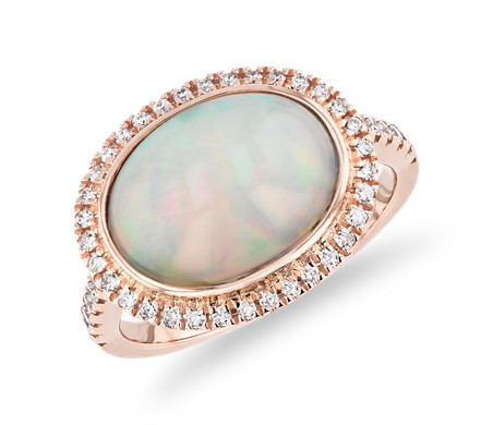 East-West Oval Opal Ring with Diamond Halo and Sidestones in 18k Rose Gold (13x10mm)