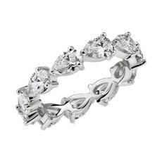 14k 白金横向梨形切割钻石永恒戒指(3 cttw)