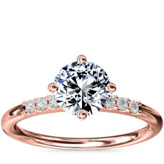East-West Petite Diamond Engagement Ring in 14k Rose Gold (1/10 ct. tw.)