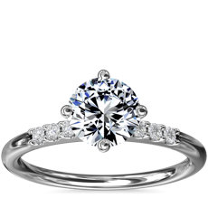 East-West Petite Diamond Engagement Ring in 14k White Gold (1/10 ct. tw.)