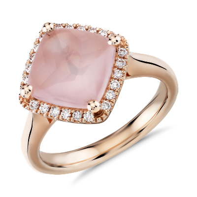 East West Rose Quartz Ring with Diamond Halo in 14k Rose Gold 9mm
