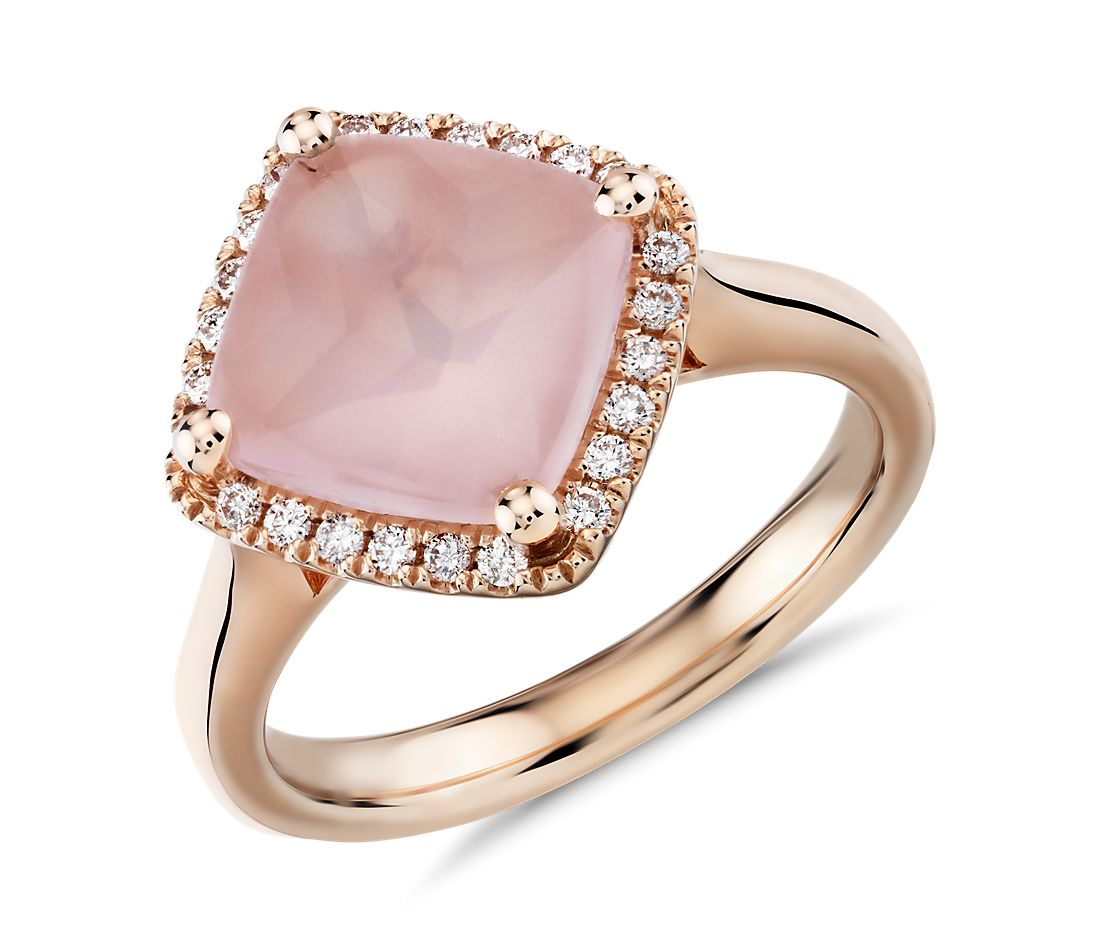 East West Rose Quartz Ring with Diamond Halo in 14k Rose Gold (9mm)