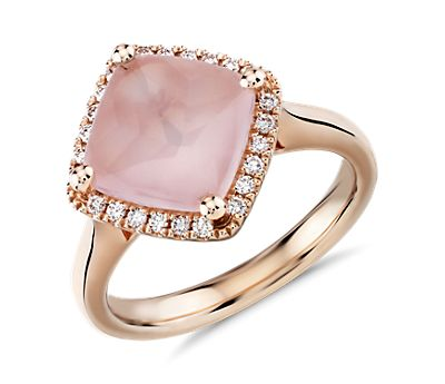 East West Pink Quartz Ring with Diamond Halo in 14k Rose Gold