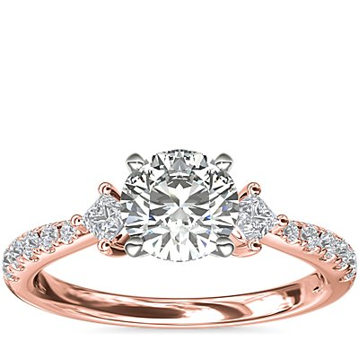 NEW East-West Sidestone and Pavé Diamond Engagement Ring in 14k Rose Gold (1/4 ct. tw.)