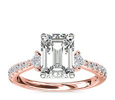 14k 玫瑰金横向辅石和密钉钻石订婚戒指(1/4 克拉总重量)