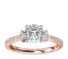 East-West Sidestone and Pavé Diamond Engagement Ring in 14k Rose Gold (1/4 ct. tw.)