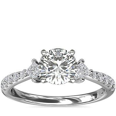 新款 14k 白金横向辅石和密钉钻石订婚戒指<br>(1/4 克拉总重量)