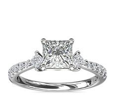 East-West Sidestone and Pavé Diamond Engagement Ring in 14k White Gold (1/4 ct. tw.)