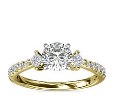 East-West Sidestone and Pavé Diamond Engagement Ring in 14k Yellow Gold (1/4 ct. tw.)
