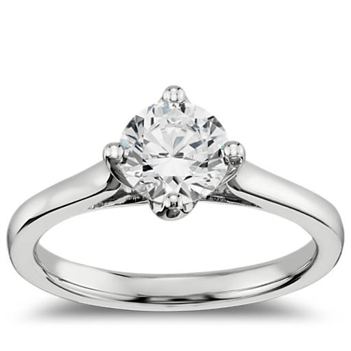 Engagement Ring Selection Guide: East-West Solitaire Engagement Ring In 14k White Gold