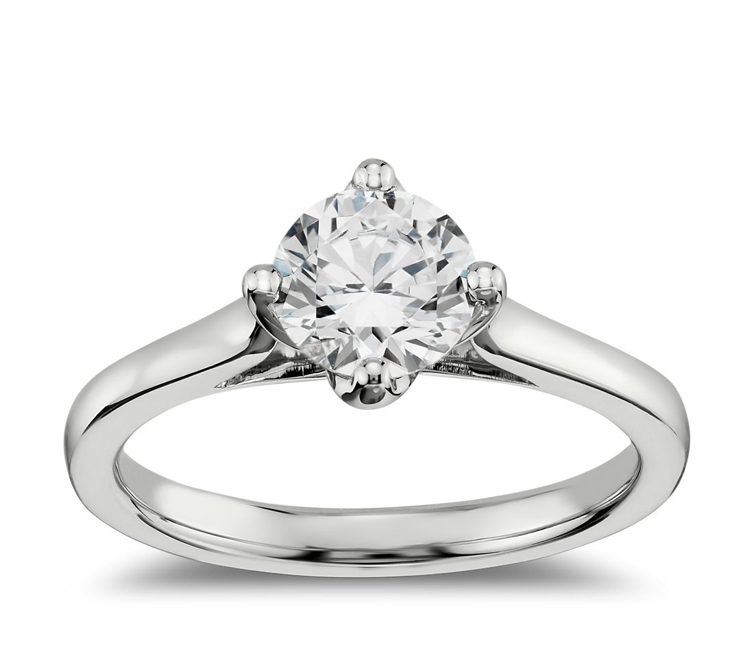 East West Bands: East-West Solitaire Engagement Ring In 14k White Gold