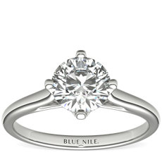NEW East-West Solitaire Engagement Ring in 18k White Gold