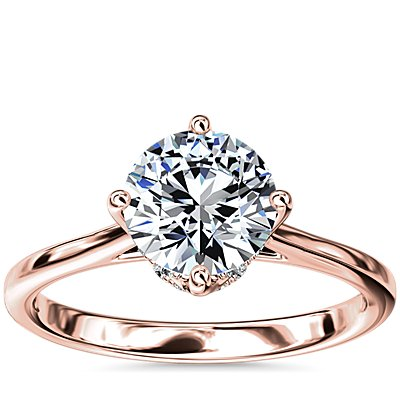 NEW East-West Solitaire Plus Diamond Engagement Ring in 14k Rose Gold