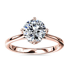 East-West Solitaire Plus Diamond Engagement Ring in 14k Rose Gold