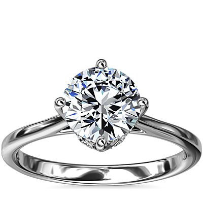 East-West Solitaire Plus Diamond Engagement Ring in 14k White Gold