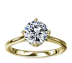 East-West Solitaire Plus Diamond Engagement Ring in 14k Yellow Gold