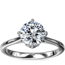 East-West Solitaire Plus Diamond Engagement Ring in Platinum