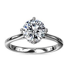 East-West Solitaire Plus Diamond Engagement Ring in Platinum