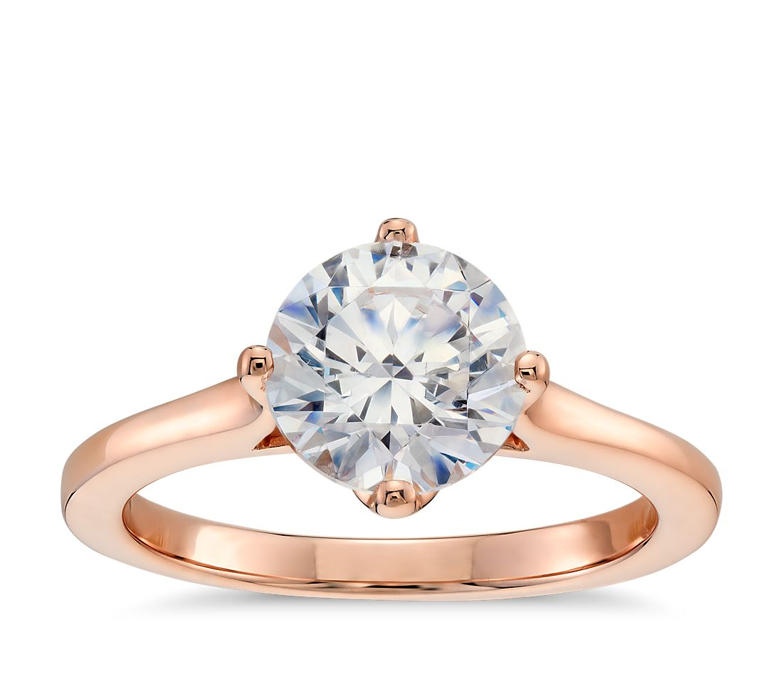 east west solitaire ring 14k rose gold rose gold wedding rings East West Solitaire Engagement Ring in 14k Rose Gold