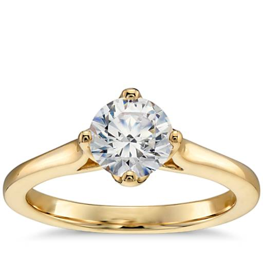 East West Solitaire Engagement Ring In 14k Yellow Gold