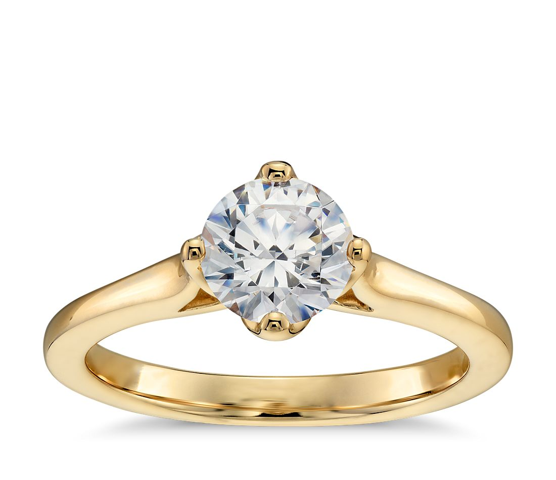 east west solitaire engagement ring in 14k yellow gold - Wedding Rings Gold