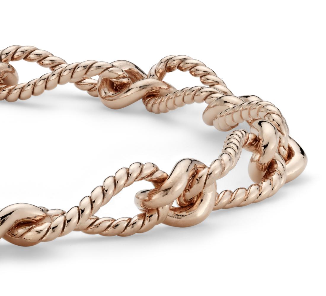 Elegante brazalete en plata bañada en oro rosado