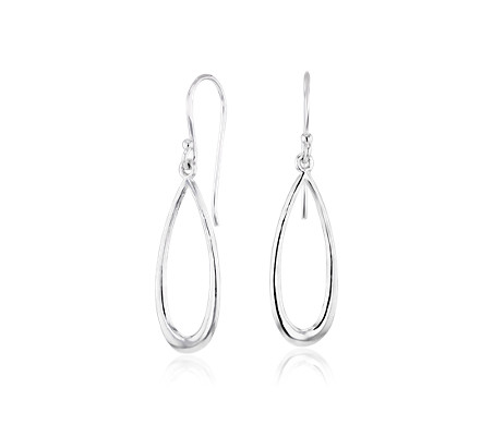 Elongated Oval Earrings in Sterling Silver