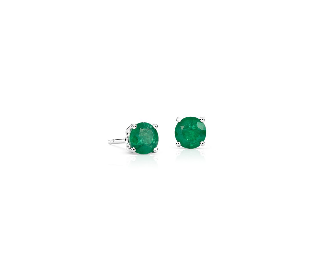 Emerald Stud Earrings In 18k White Gold 5mm