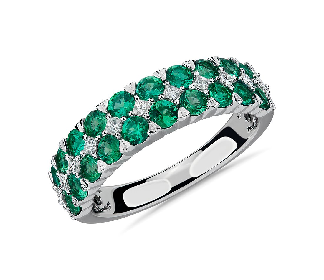 Emerald and Diamond Double Row Ring in 14k White Gold