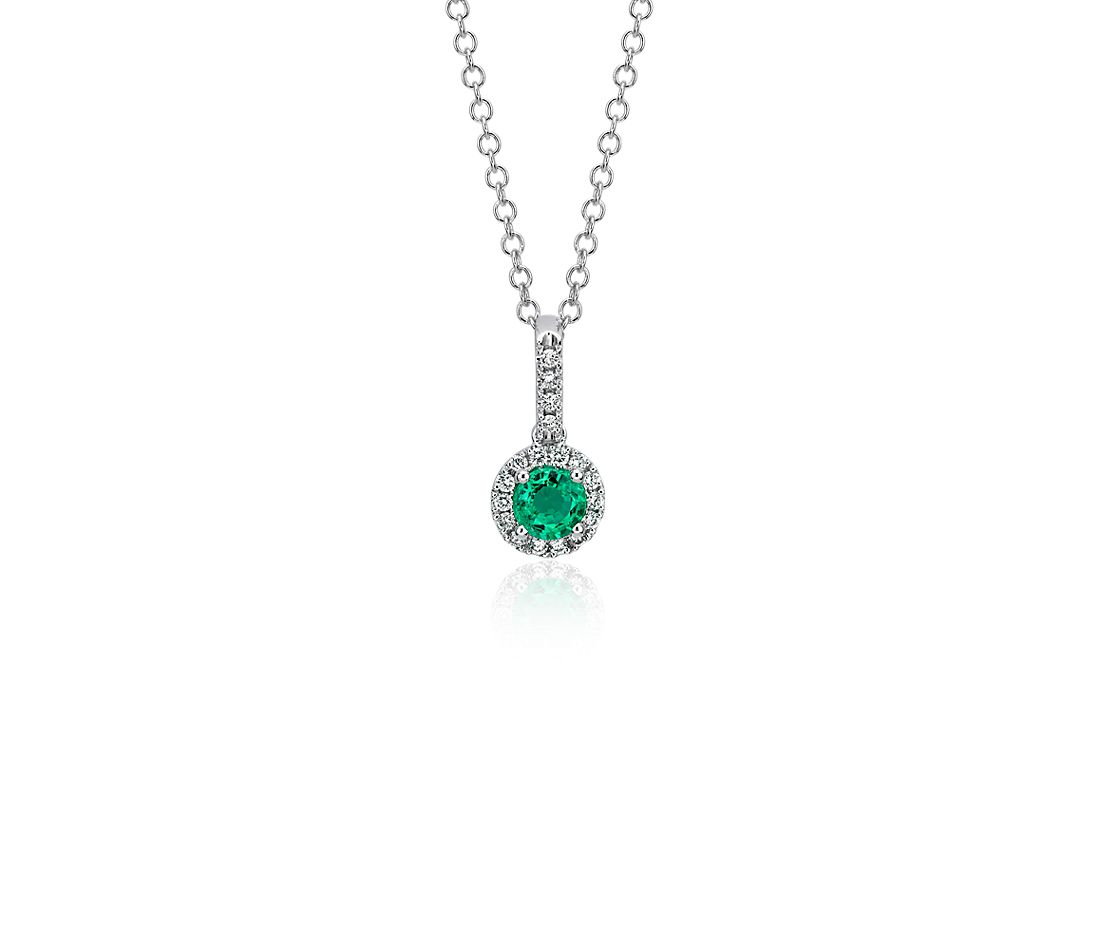 Emerald and Diamond Drop Pendant in 14k White Gold (4mm)