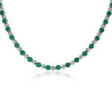 新款 14k 白金綠寶石與鑽石永恆項鍊