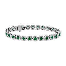 NEW Emerald and Diamond Halo Bracelet in 14k White Gold