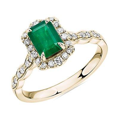 14k 金祖母绿切割祖母绿与钻石光环戒指