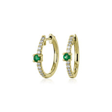 NEW Emerald and Diamond Hoop Earrings in 14k Yellow Gold